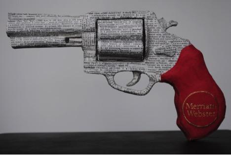 """Grammar"" – 1:1 scale replica of a 357 Magnum, repurposed dictionary, glue, a single piece of tape"