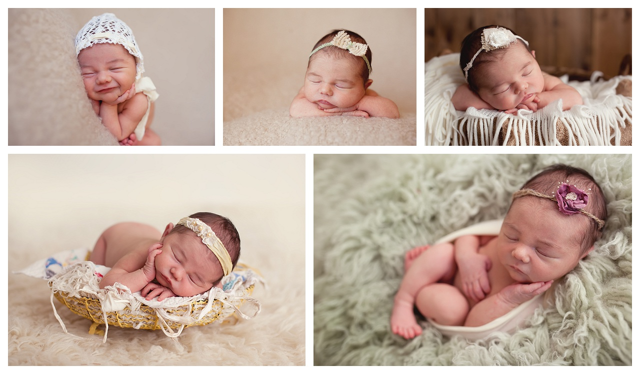 newborn baby girl with neutral color palette