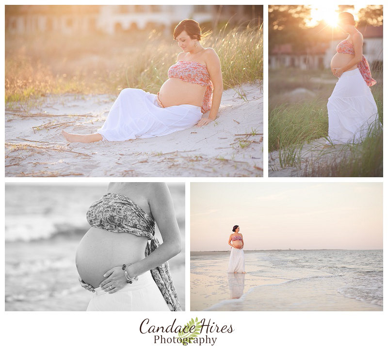sea island georgia beach sunset maternity session
