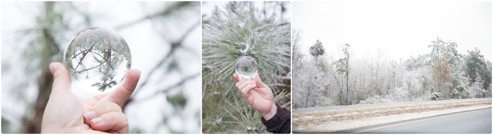 lensball snow south georgia | candace hires photography | www.candacehiresphotography.com