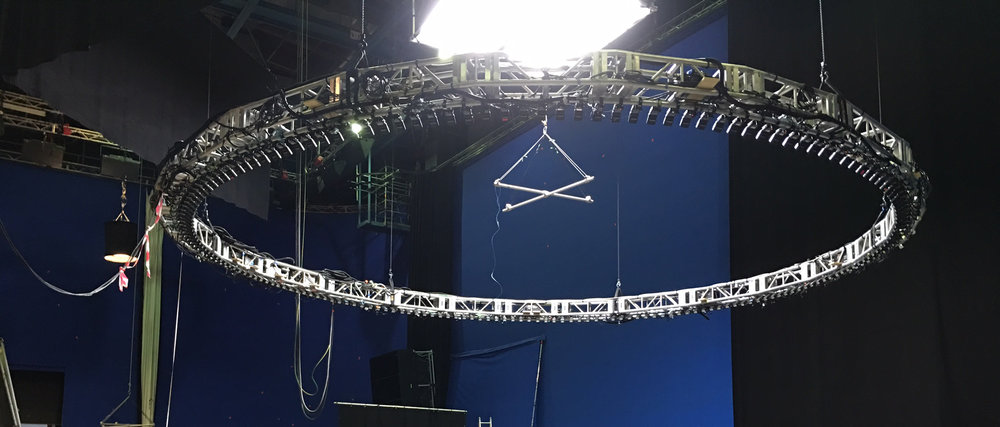 Circular speedrail rig sub-hung from truss.