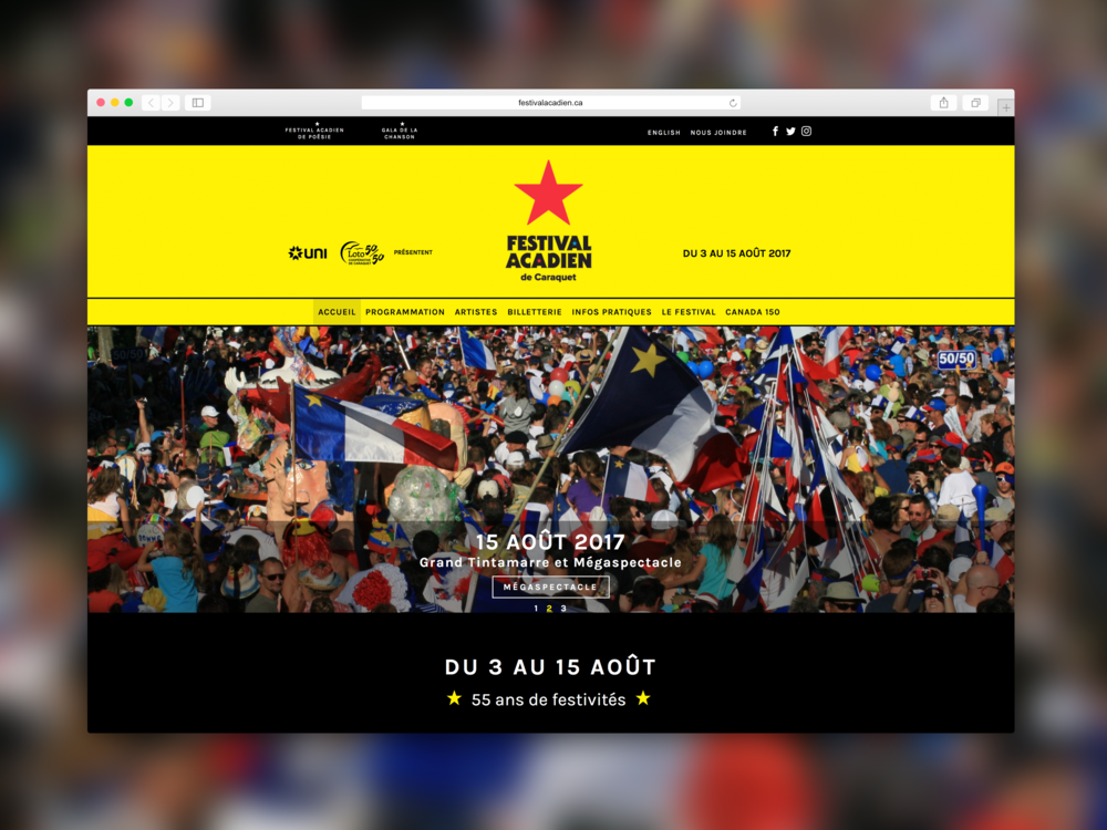 Festival acadien de Caraquet - Site web. Programmation par Promotions Citrus.