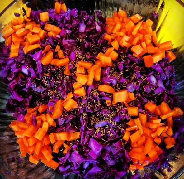 red cabbage, carrots, caraway seeds