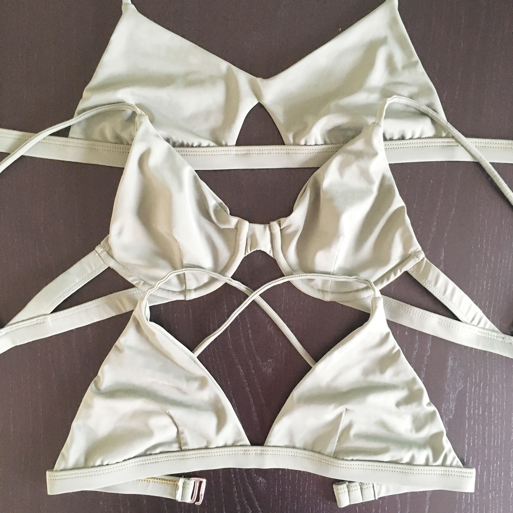 Finished samples of the 3 bikini top styles: Sport Cutout Bikini Top; Underwire Bikini Top; Basic Triangle Bikini Top.