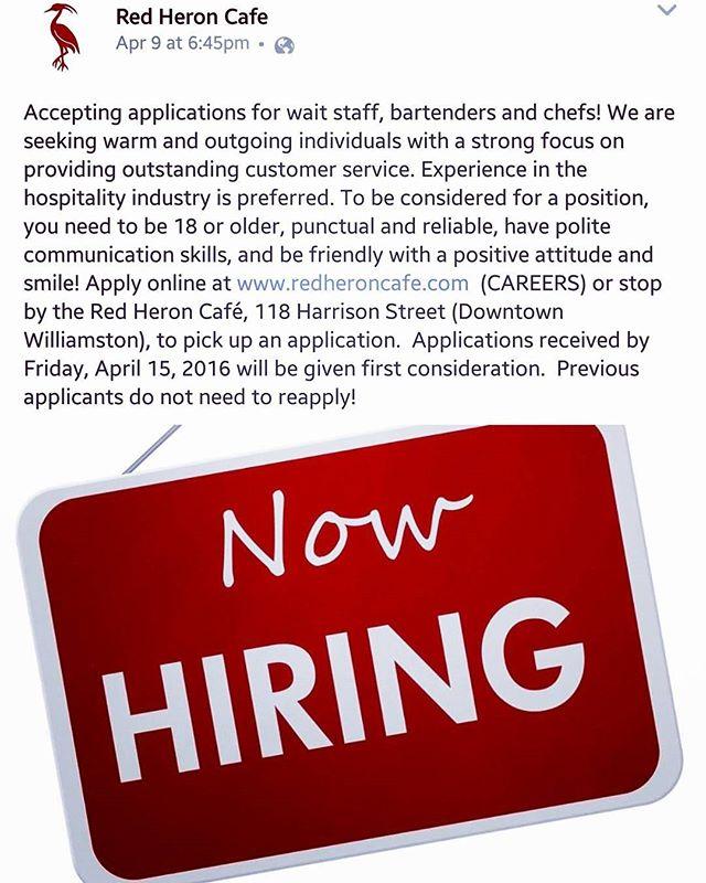 #hiring  www.redheroncafe.com