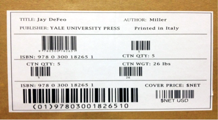 Example bar code label