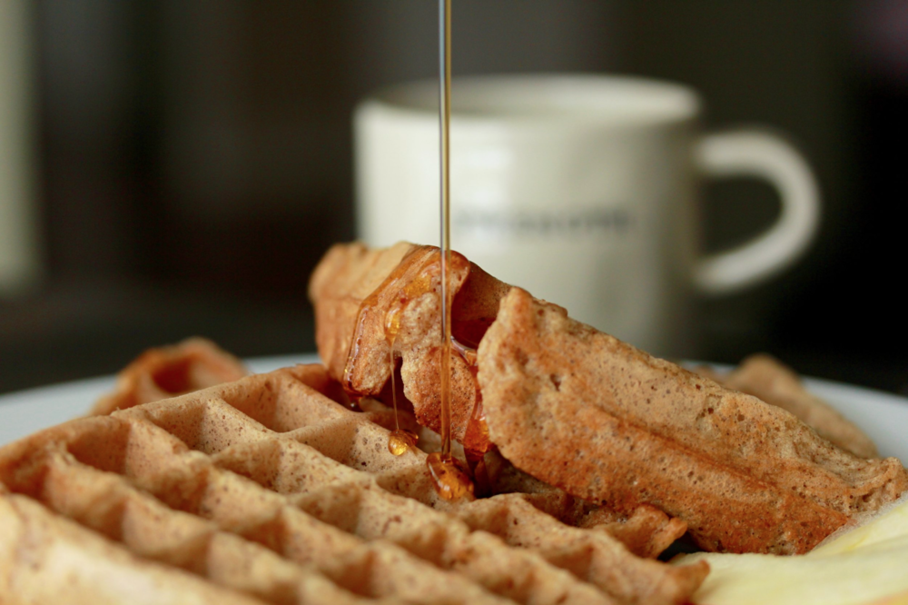 Spiced Apple Waffles with Syrup