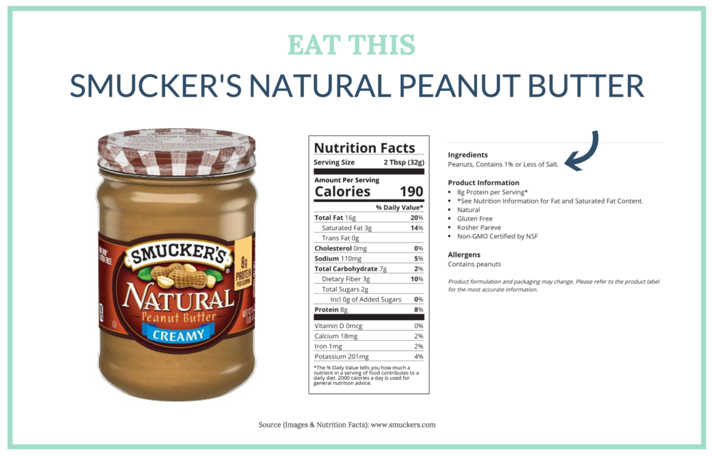We recommend eating a brand like Smucker's Natural peanut butter since it doesn't have any added oil (or added sugar!)