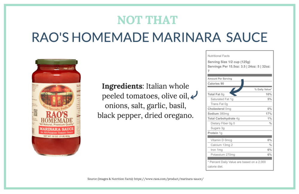 To be candid, we Love Rao's Marinara sauce and have eaten it a number of times. To limit our oil consumption, we only have it 'once in a while'.