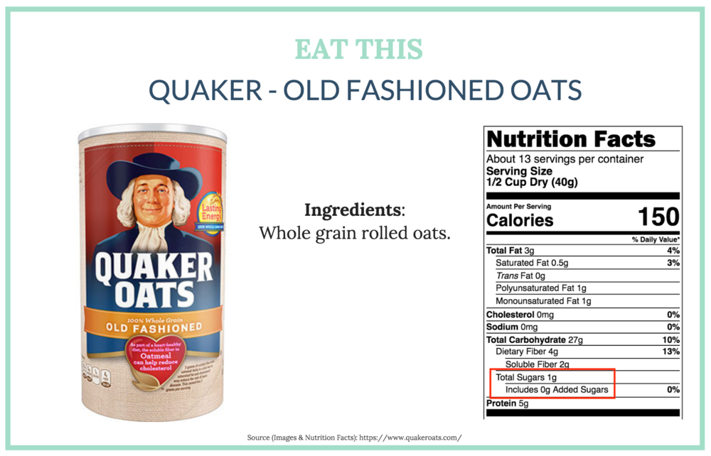 Notice this nutrition label, which will be mandatory on all products, specifically shows added sugars—which is 0 g in this product.