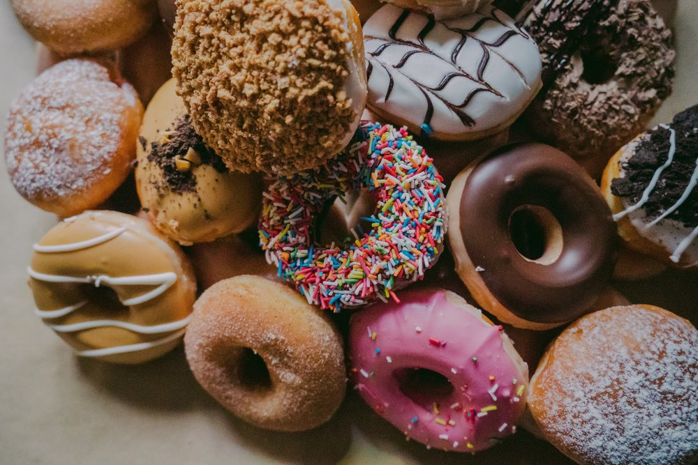 Many think of donuts as full of carbs and sugar, when in fact, they have more  fat  than sugar.