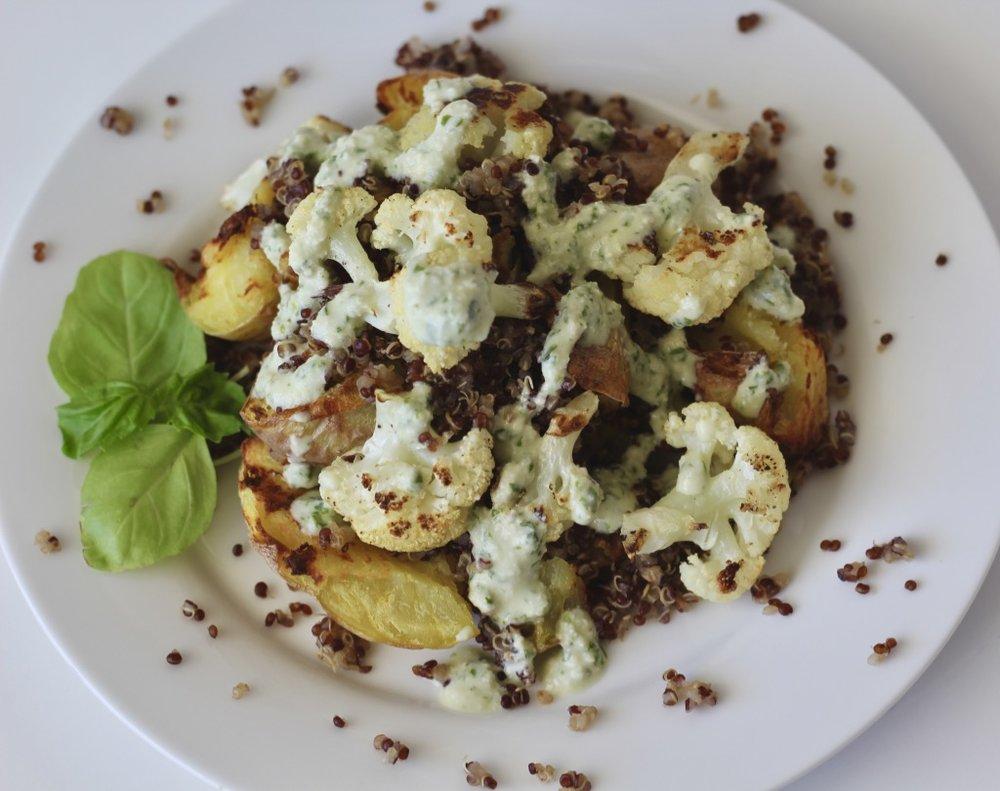 We love the dressing over potatoes, Cauliflower, and quinoa!