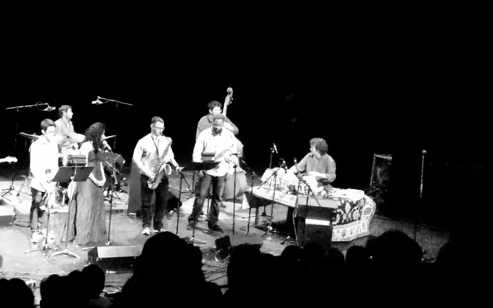 Nate Hook performing with Zakir Hussain and his ensemble at Banff in Canada in August, 2015