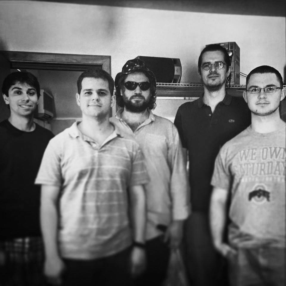 The PROGRESSIVE OVERLOAD band after finishing recording at Skyline Studios.  L to R: Paolo Cantarella, Billy Test, Travis Reuter, Louis De Mieulle, Nate Hook