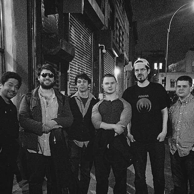 L to R:   Matt Garrison, Travis Reuter, Paolo Cantarella, Nate Hook, Louis De Mieulle, Billy Test  Shapeshifter Lab in Brooklyn, NY.  April 2015