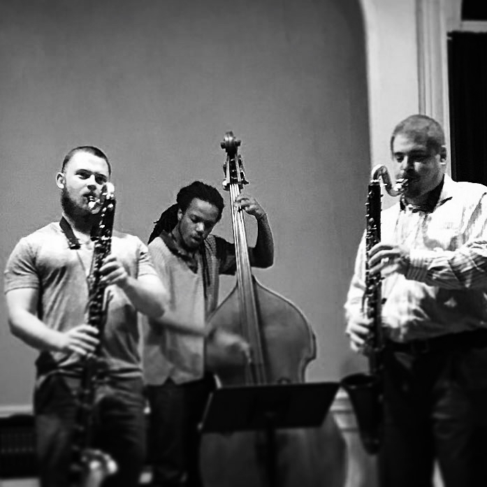 Nate Hook with Todd Marcus and Tyrone Allen at An Die Musik in Baltimore, 2016