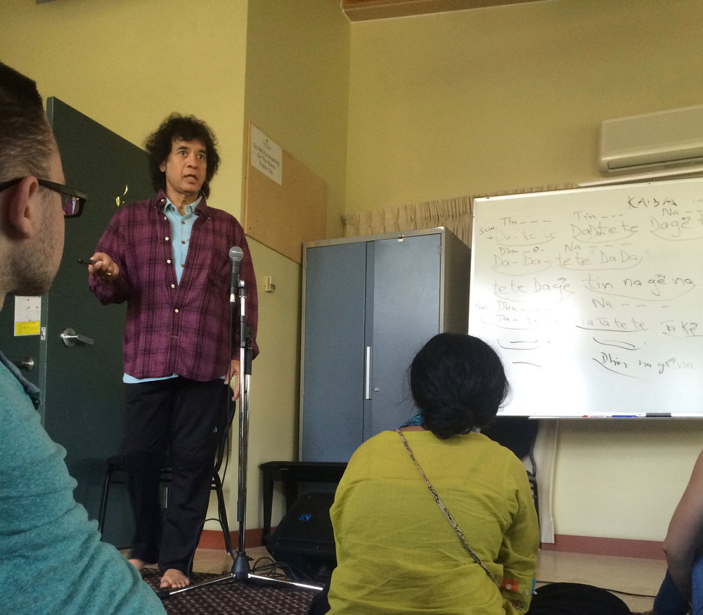 Zakir Hussain teaching at Banff.  Thanks for the photo Imani Uzuri!