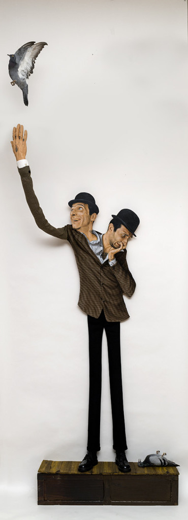 Jean Labourdette -Jean Qui Rit, Jean Qui Pleure, acrylic on wood, mixed media sculpture, 63%22 x 59%22 x 39%22.jpg