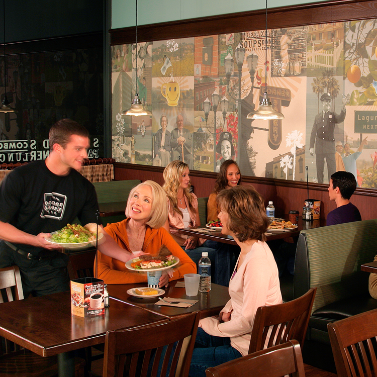cafe interior showing localized wall mural