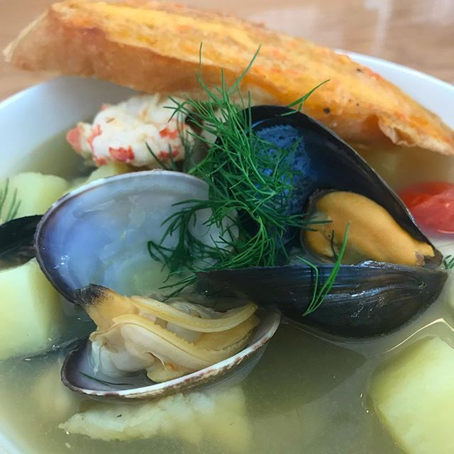 Today at Roost.... seafood chowder for $10. All local seafood, clams, mussels, spot prawn and lingcod 😃