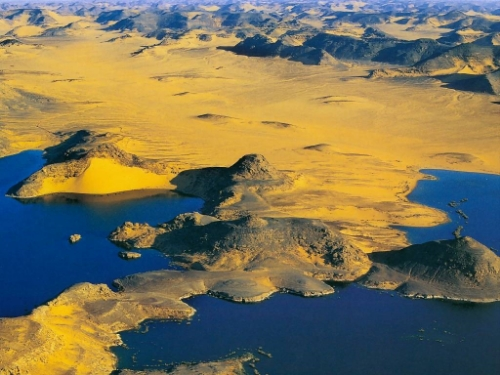 Lake Nasser, Egypt at sunset