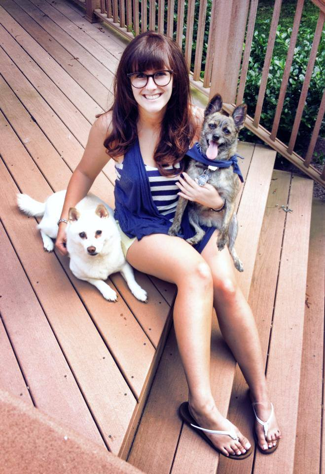 Morgan Spicer with her buddies Kiba and Roscoe Roo