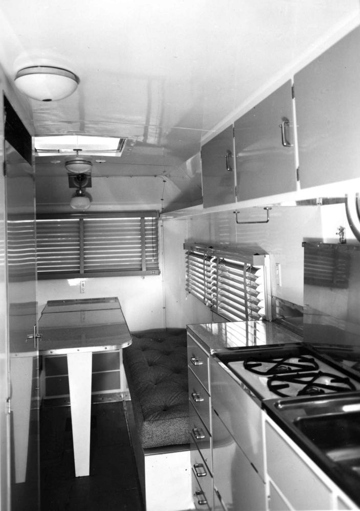 The interior of a caravan c1970. Squeezy!