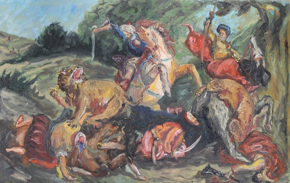 Lion Hunt (After Delacroix )