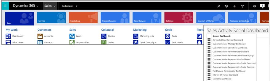 The current way. Showing all SiteMap Entities and Dashboards (yes as developers we sometimes manually cut things out) (Credit: Microsoft)