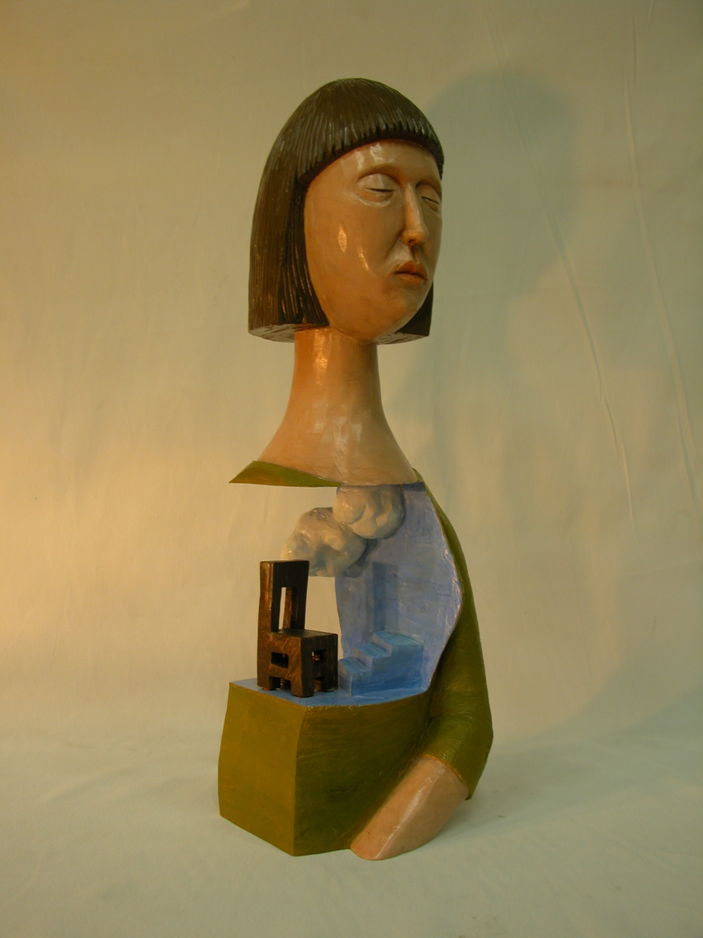 "Days of waiting-woman.W10.2""L9.8""H20.4"".Acrylic colors on Wood.2007"