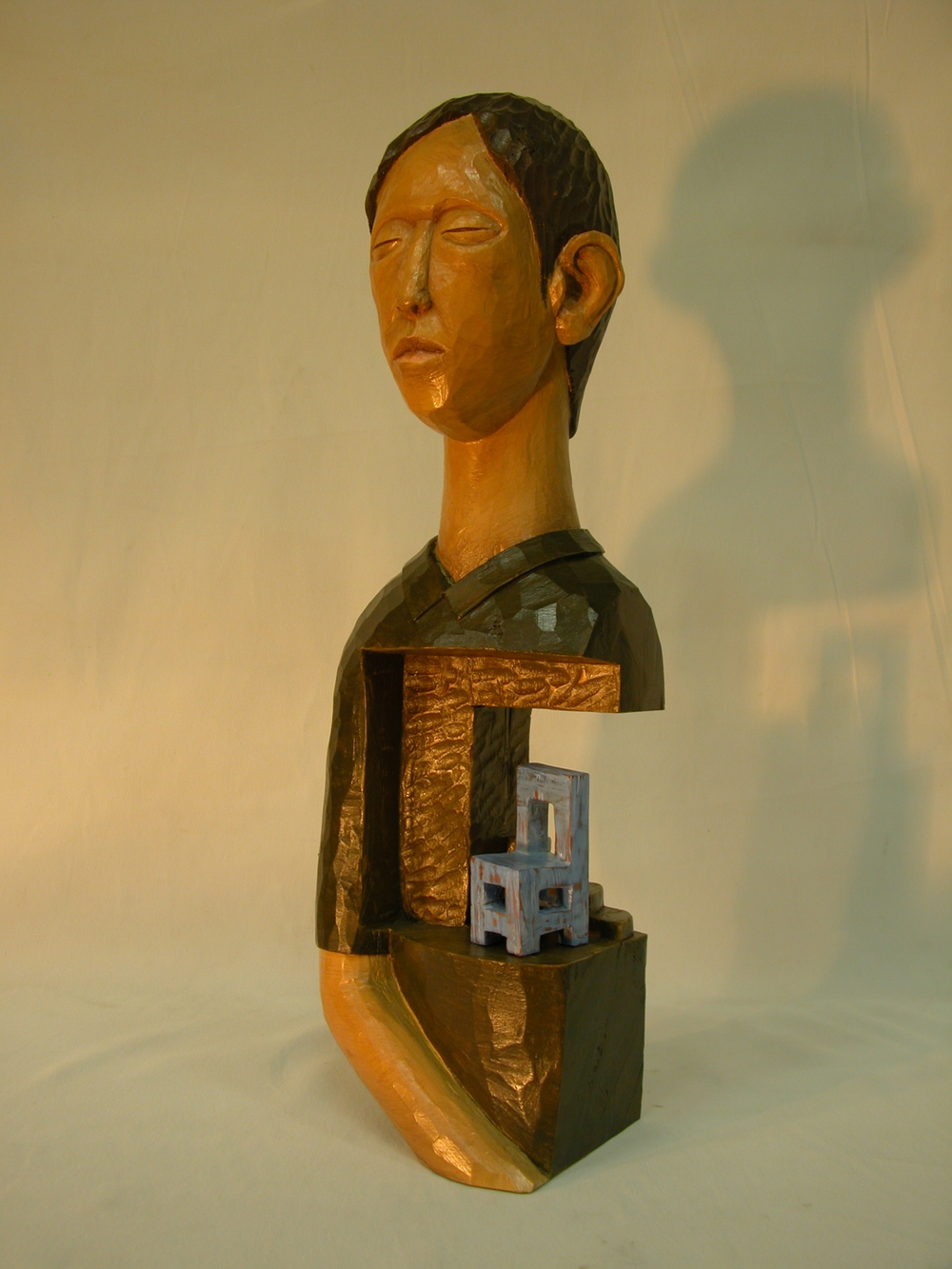 "Days of Waiting-Man.W9.8""L7.8""H19.7"".Acrylic colors on Wood.2007"