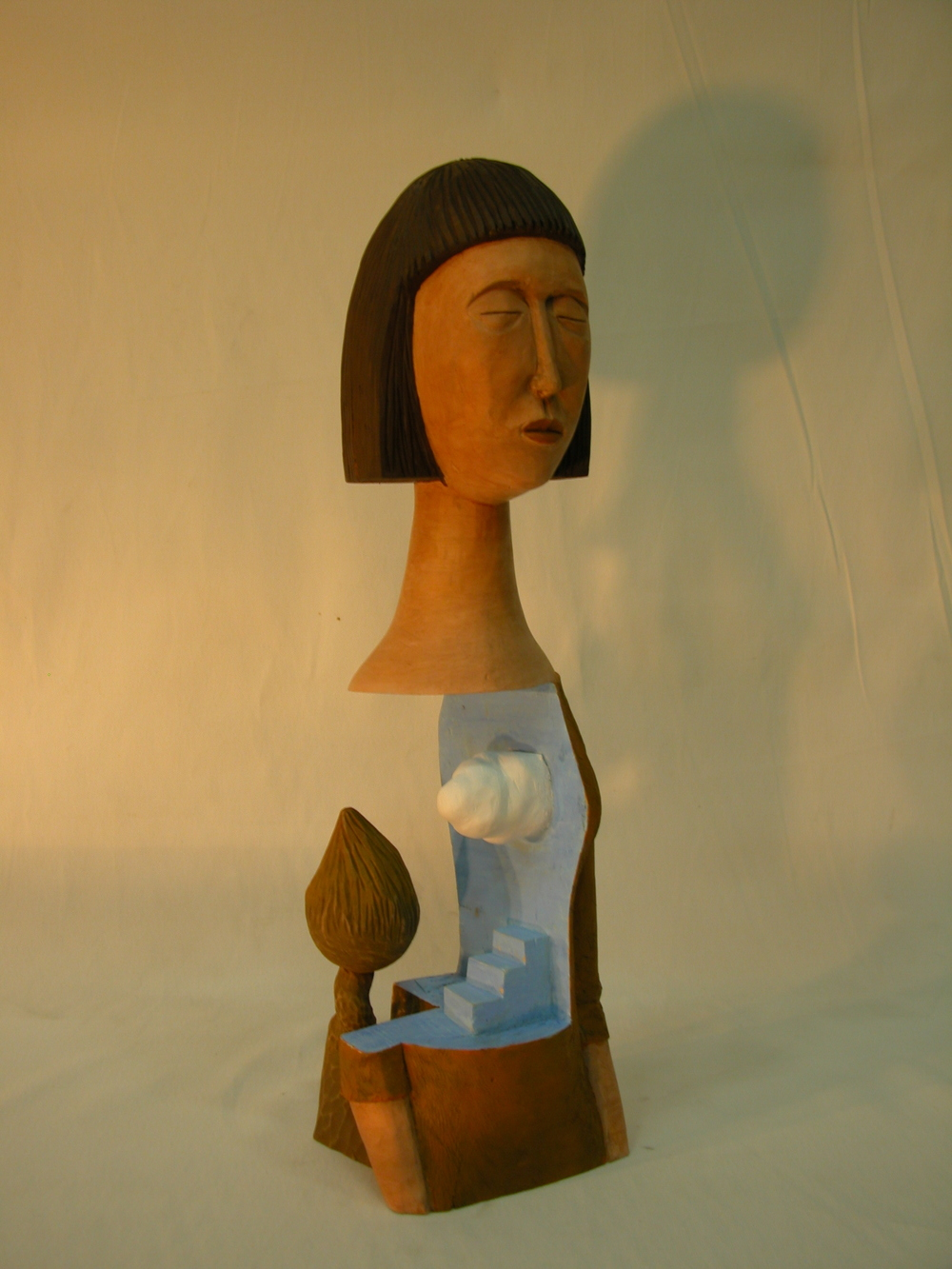 "One day the Woman.W9.8""L9.8""H19.7"".Acrylic colors on Wood.2007"