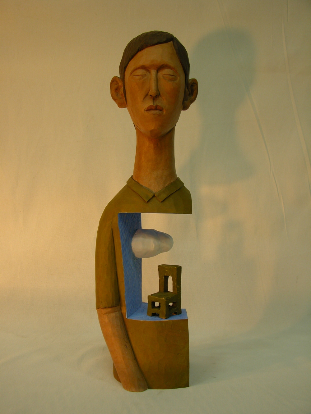 "One day the Woman.W7.8""L7.8""H21.6"".Acrylic colors on Wood.2007"