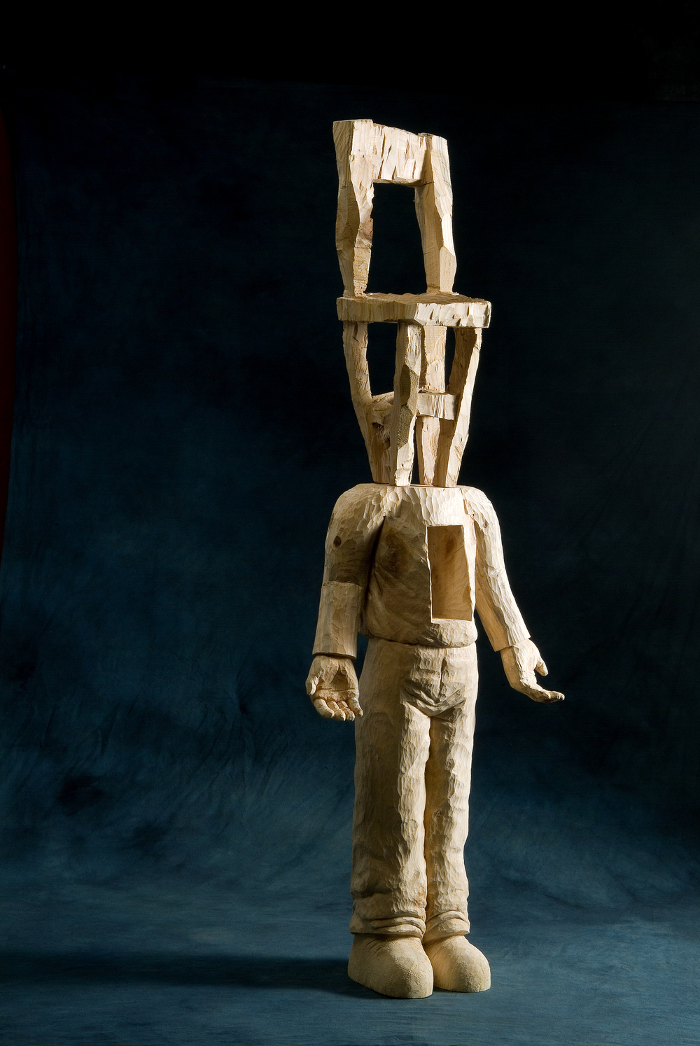 "Dreaming man.W21.2""L11""H64"".Wood.2006"