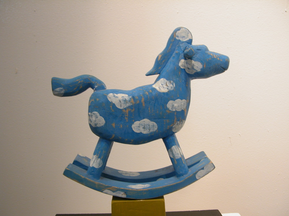 "Memories of Childhood-hobbyhorse.W8""L4""H8"".Acrylic colors on wood.2012"