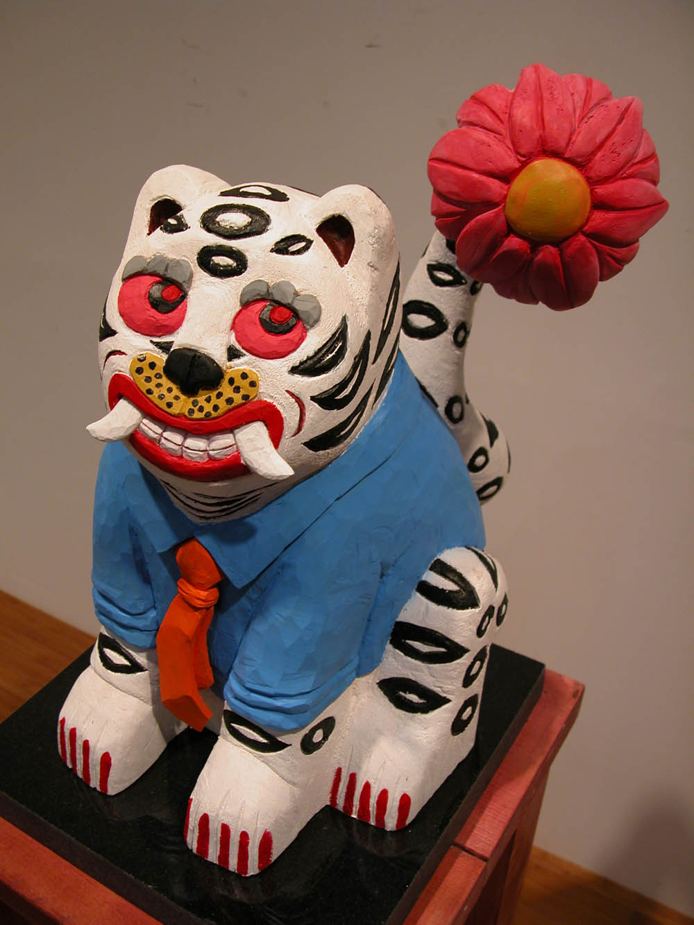 "Tiger flowers.W11.8""L13""H19.7"".Acrylic colors on Wood.2010"