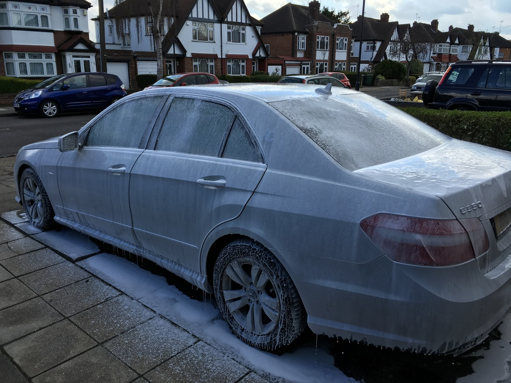 Prewash with snow foam prior to contact washing