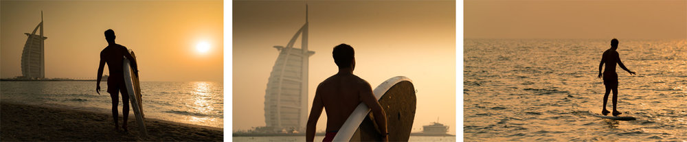 George had just arrived in Dubai from Lebanon, eager to capture his first moments on a surfboard, we turned it into a mini portrait shoot.