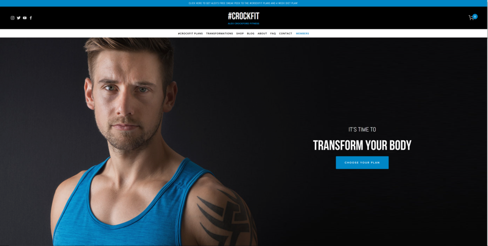 The new home page of CROCKFIT -  www.alexcrockford.com