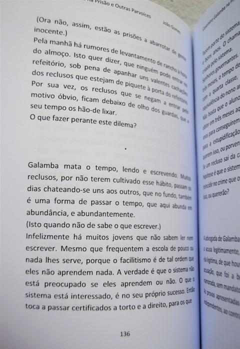 Casemiro Galamba na Prisão e Outras Parvoíces, segunda edição. Livro aberto na página 136.