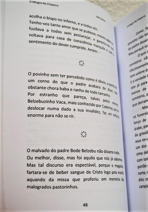 O Milagre No Chaparro, segunda edição. Livro aberto na página 48.
