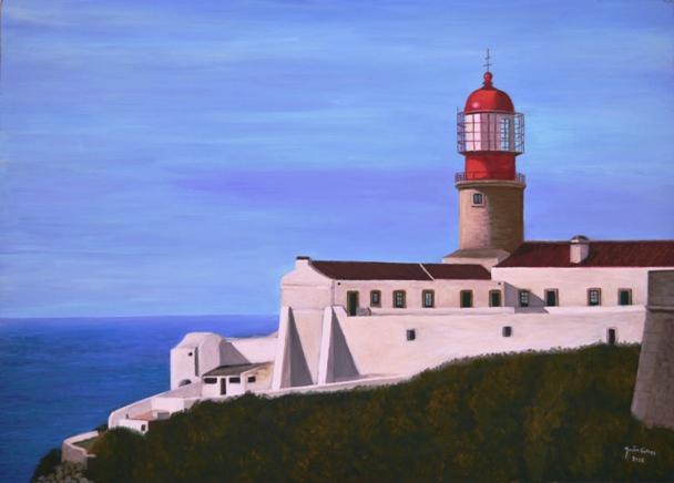 Lighthouse Cape Saint Vincent - Oil on hardboard19.68 x 23.62 inA fine artwork, part of the exhibition Our Algarveto be held at the São Brás de Alportel´s Municipal Gallery.