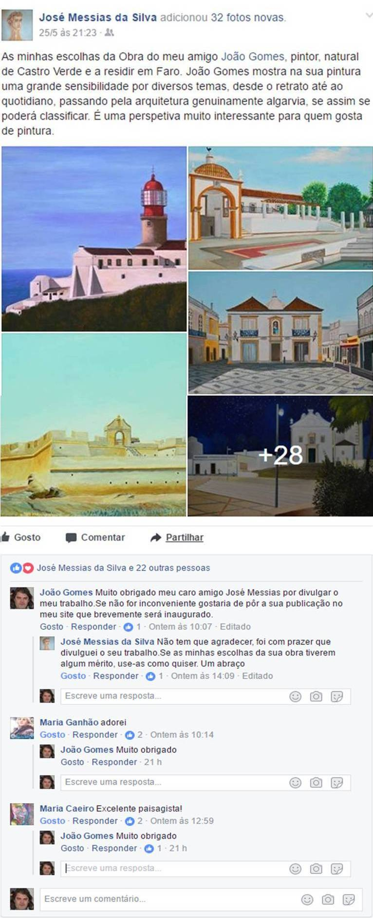 Publication of a friend on May 25, 2017, concerning works by Joao Gomes and respective comments of people following the artist and his works on the social media.
