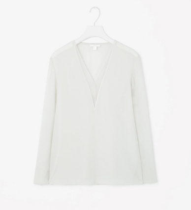 Silk blouse, 62 euro. A nod to the slip style, it will go with anything, day or night.