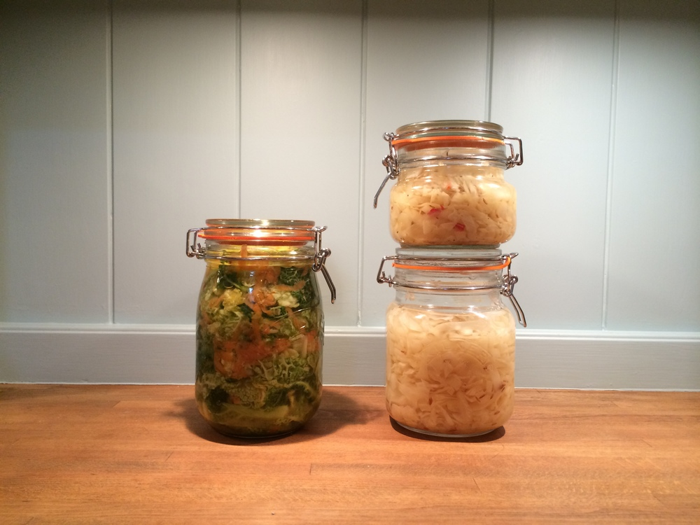 Whey fermented kimchi and sauerkraut