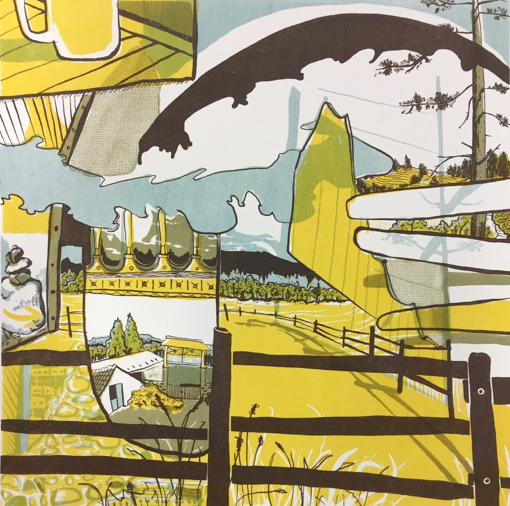 """Thoughts From the Camino I (Yellow)  Lithography, 7""""x7"""", 2017"""