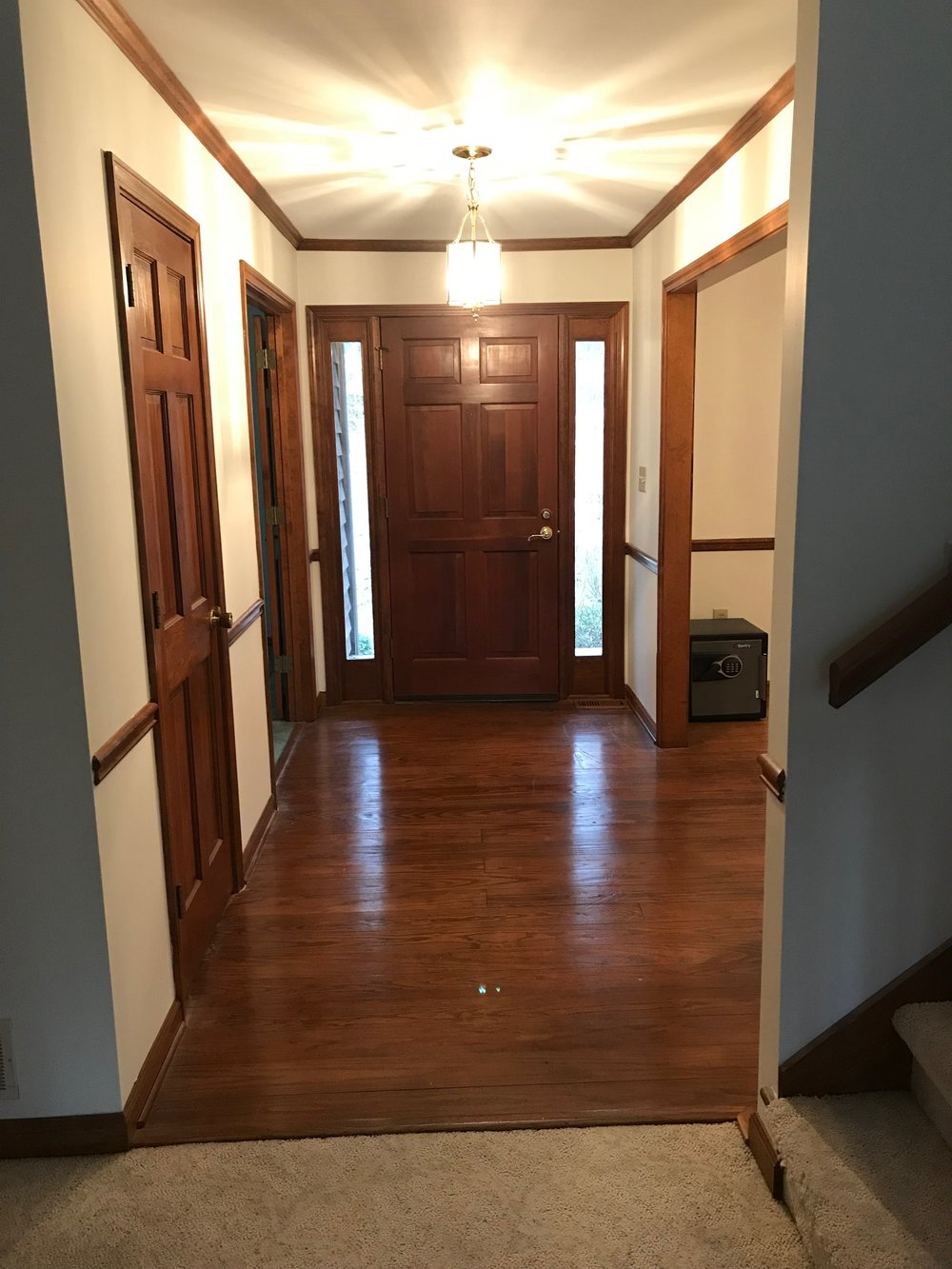 What we had - Stained 6 Panel Doors, Trim, Crown, Baseboards & Chair Rail Galore
