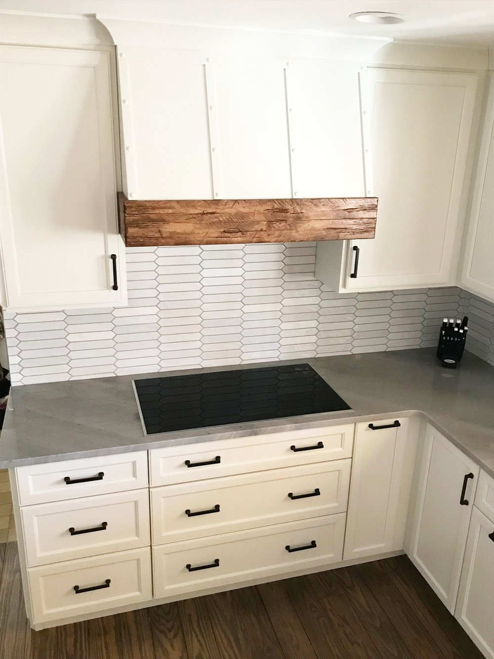 Custom Farmhouse Vent Hood with Rustic Wood