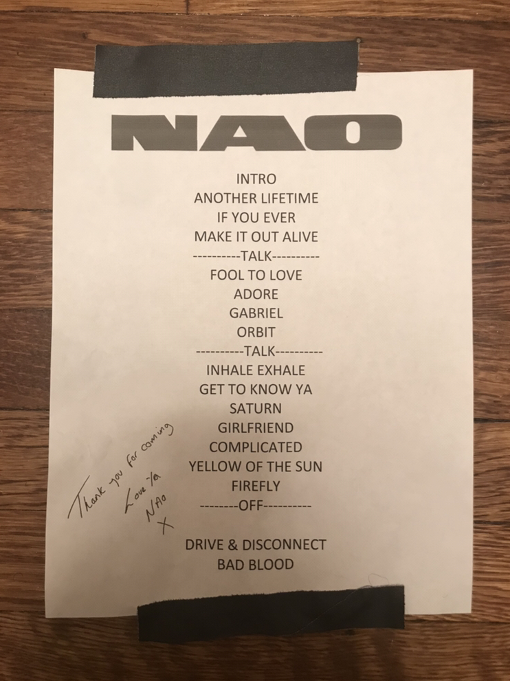 After the concert, NAO signed my set list!
