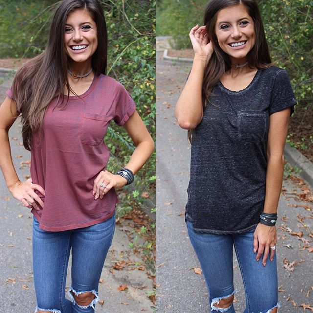 Soft Wash Pocket Tee's in Red/Blue & Black! $36 & free shipping! Perfect to pair with a flannel for fall. Shop link in bio under new arrivals!